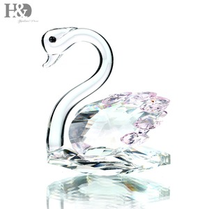 Glass Crystal 3inch Pink Swan Figurines Paperweight Crafts Art&Collection Table Car Ornaments Souvenir Home Wedding Decor Gift