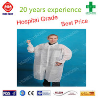 Disposable PP Lab Coat, white cuff, single collar (White)