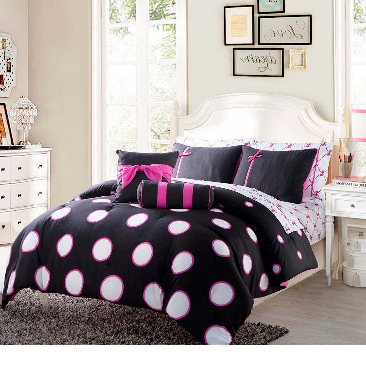 8 Piece Twin Black Pink Contemporary Bed In A Bag With Sheet Set For Teen Girls, High Class Bedding, Polyester Fabric, Polka Dot Pattern, Machine Washable, Dark Black, Medium Pink, White Dot
