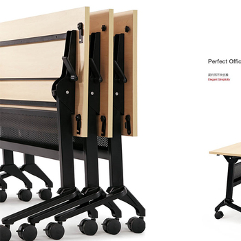 Wooden Foldable office Training table with casters