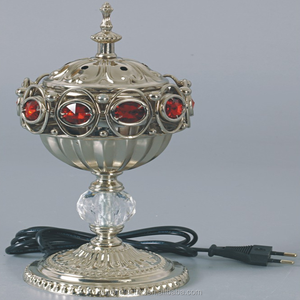 Arabic Metal Electric Incense Burner, Crystal Sapphire Electric Brass Incense Burner on Sale