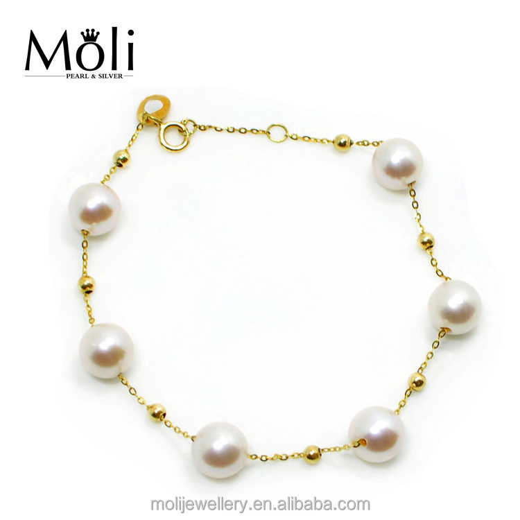 18K Yellow Gold 7mm White Round Natural Freshwater Pearl Bracelet
