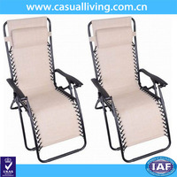 Outdoor Oversided Outdoor Patio Folding Lounge Zero Gravity Reclining Chair with Neck Pillow