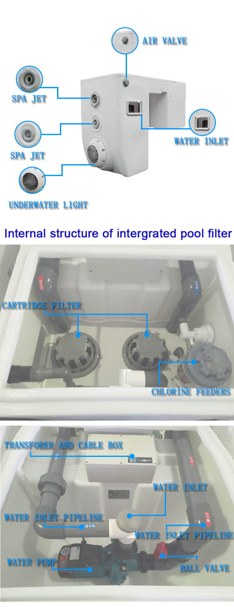 Acrylic shell Swimming pool water clean equipment compact water filter