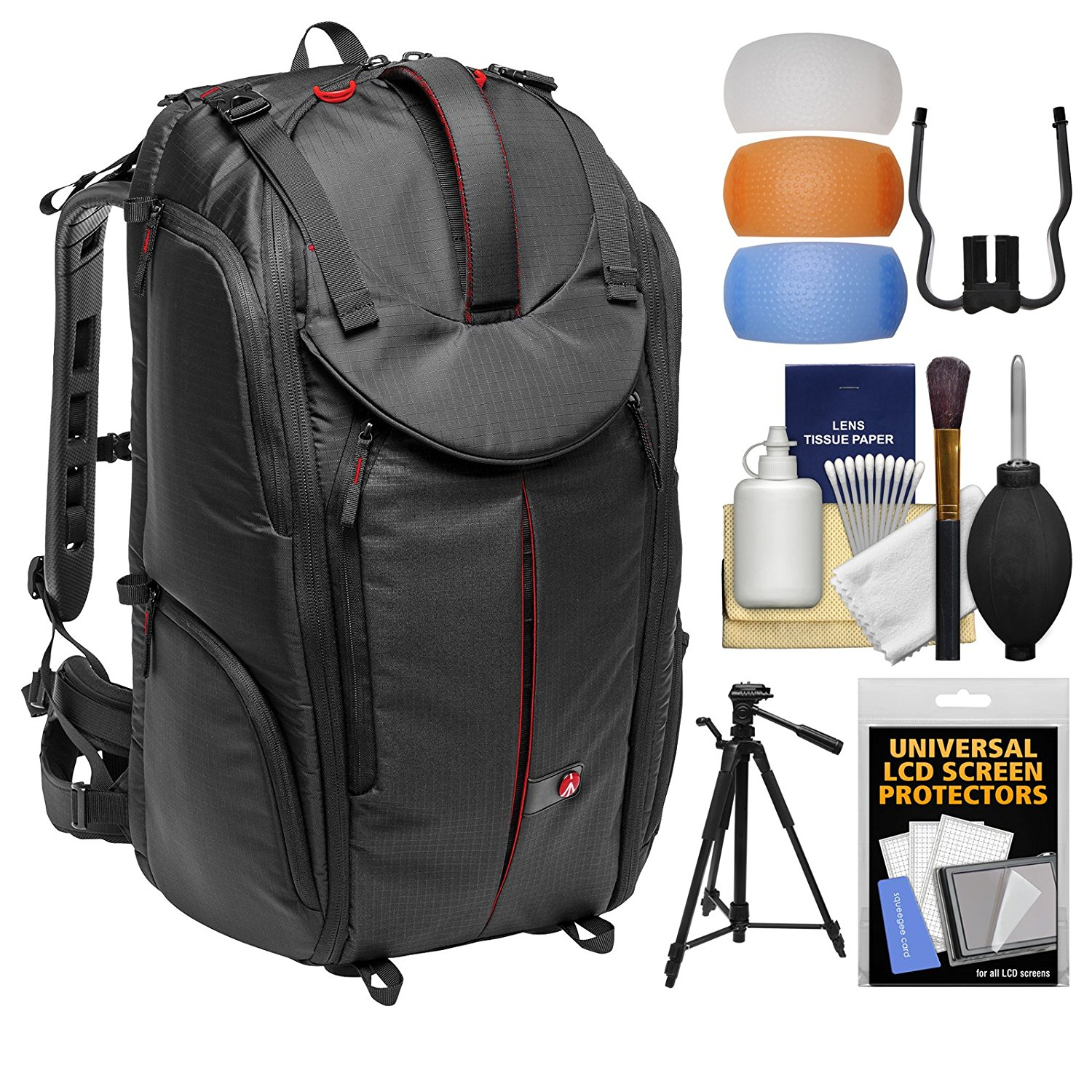 """Manfrotto Pro Light Pro-V-610 PL DSLR Video Camera Backpack with 58"""" Tripod + DSLR Diffusers & Cleaning Kit"""