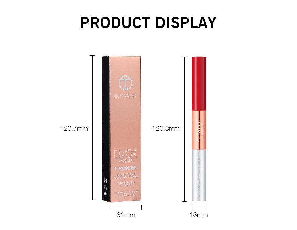 O.TWO.O 2 in 1 Matte & Glitter Lipgloss Velvet Lip Tint Moisturizer Long Lasting Liquid Lipstick Shine & Shimmer Lip Gloss Set