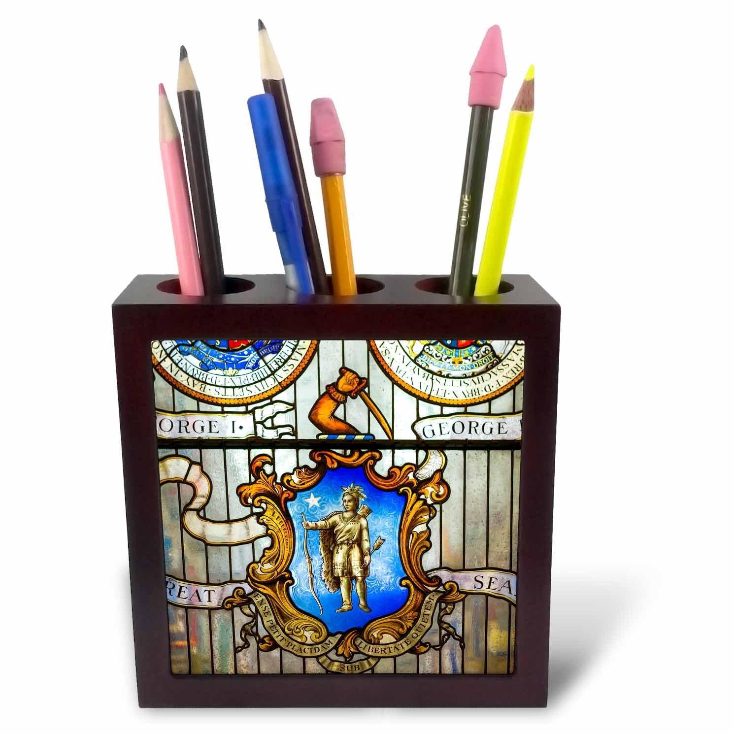 3dRose Danita Delimont - Boston - Massachusetts, Boston, Massachusetts State House, stained glass window - 5 inch tile pen holder (ph_251116_1)