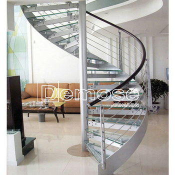 Used Interior Stainless Steel Glass Spiral Staircase Designs For