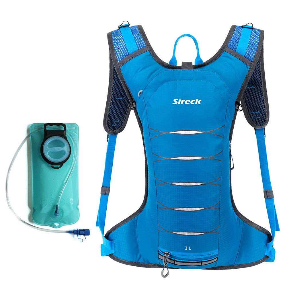 Sireck Hydration Pack, Water Resistant 3L Hydration Backpack, Durable Lightweight Water Backpack with 2L Bladder for Outdoor Sports Running Hiking Cycling