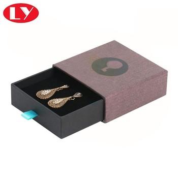 Custom Jewellery Earring Packaging Drawer Sliding Paper Gift Box With Foam Insert