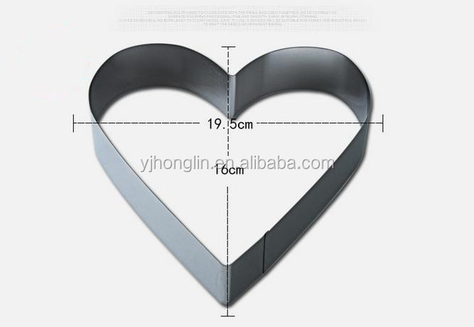 3 pieces stainless steel biscuit cookie mould heart shape cake molds