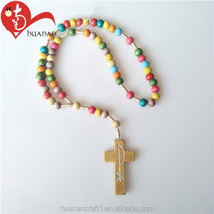 Cheep Colorful Wooden Bead Charm Cord Rosary Necklace