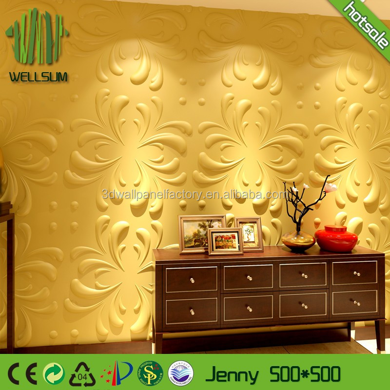 Plant fiber wall covering 3d wall panel mould perfect sweetness for baby room