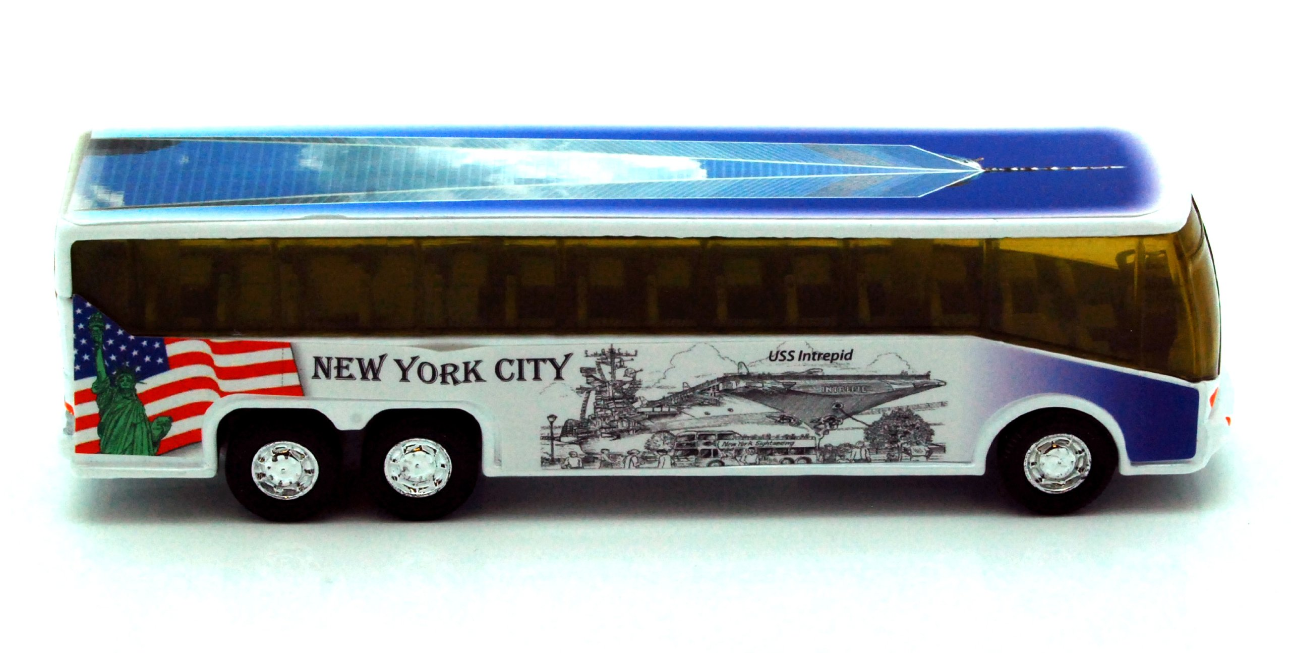 "NYC Diecast Coach Bus 6"" - Statue of Liberty, Empire State Building, Freedom Tower"