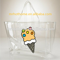 wholesale custom waterproof promotional clear tote pvc handle shopping bag