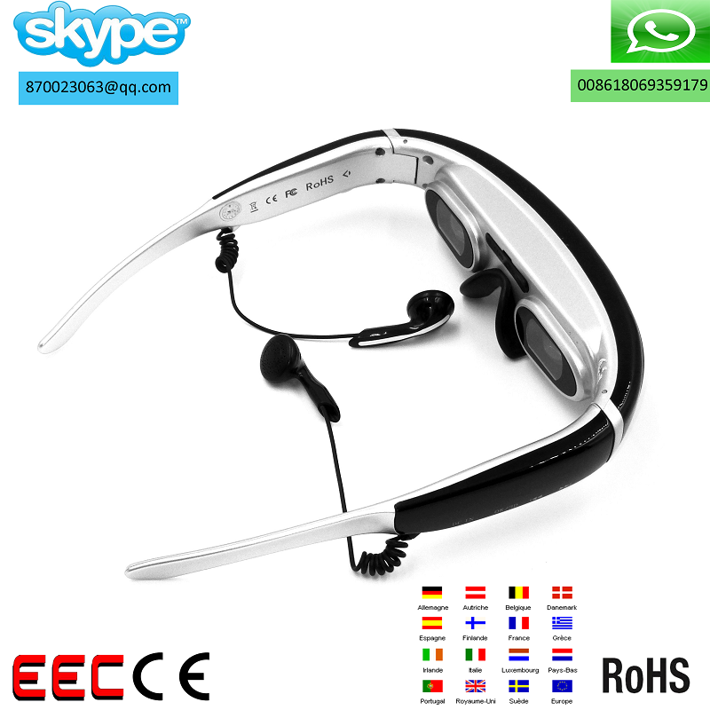 3d glasses/Smart wear hd /3d big screen /video glasses cinema AV interface 800 ma batteries