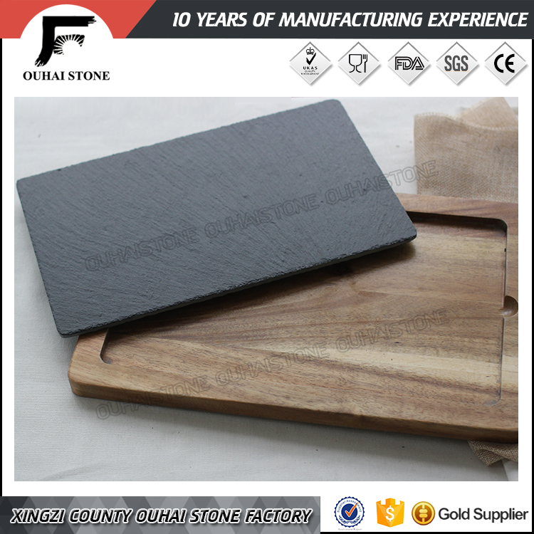 Decorative wooden serving board with slate stone inlay