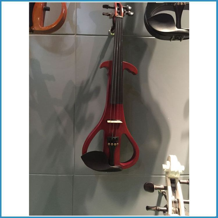 1/2 size electric violin with headphone, 4/4 solid wood body E-violin, ebony parts electric violin