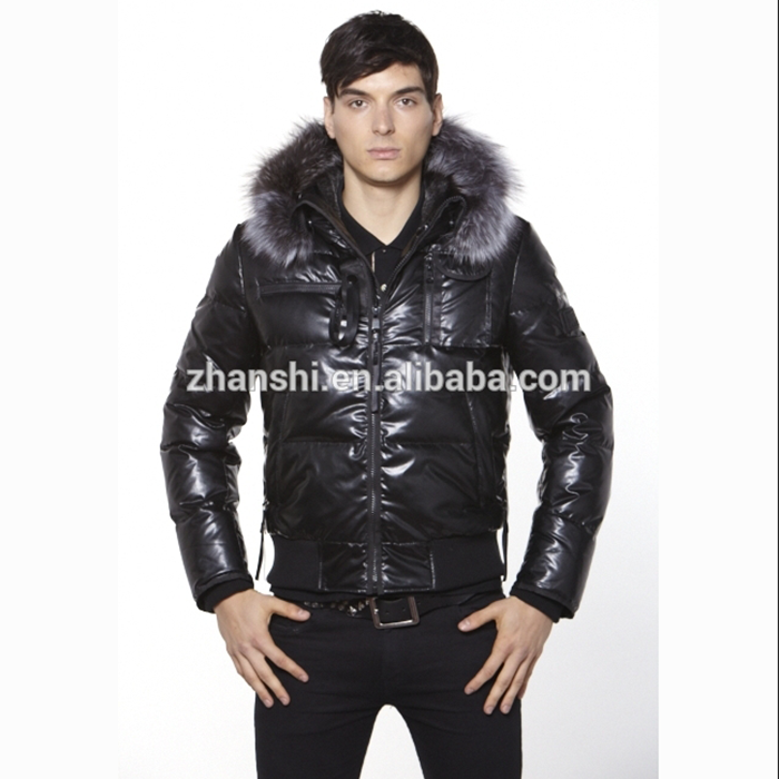 Sale Winter Fashioner Goose Down Coats Men Leather Jacket Turkey With Fox Fur Trim