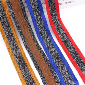Women's Coloured stripe yarn dyed ribbon 3cm tricolor mercerized cotton knitted elastic ribbon