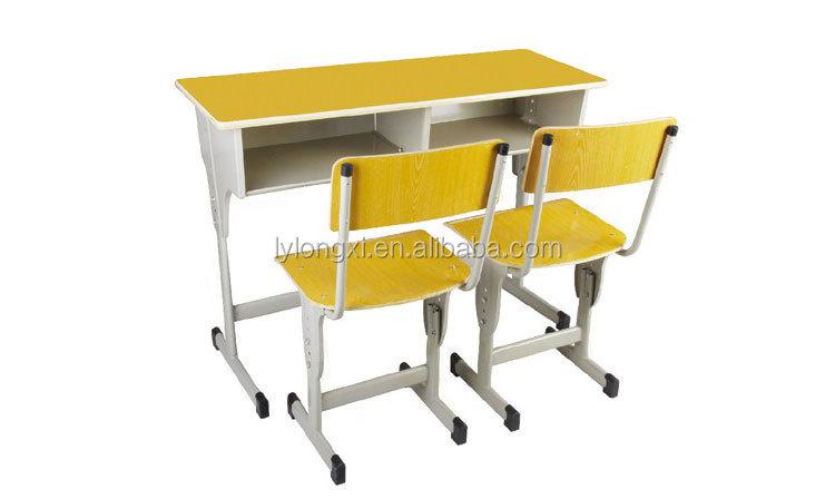 Pas cher prix adjusttable double Étudiant bureau et chaise mobilier
