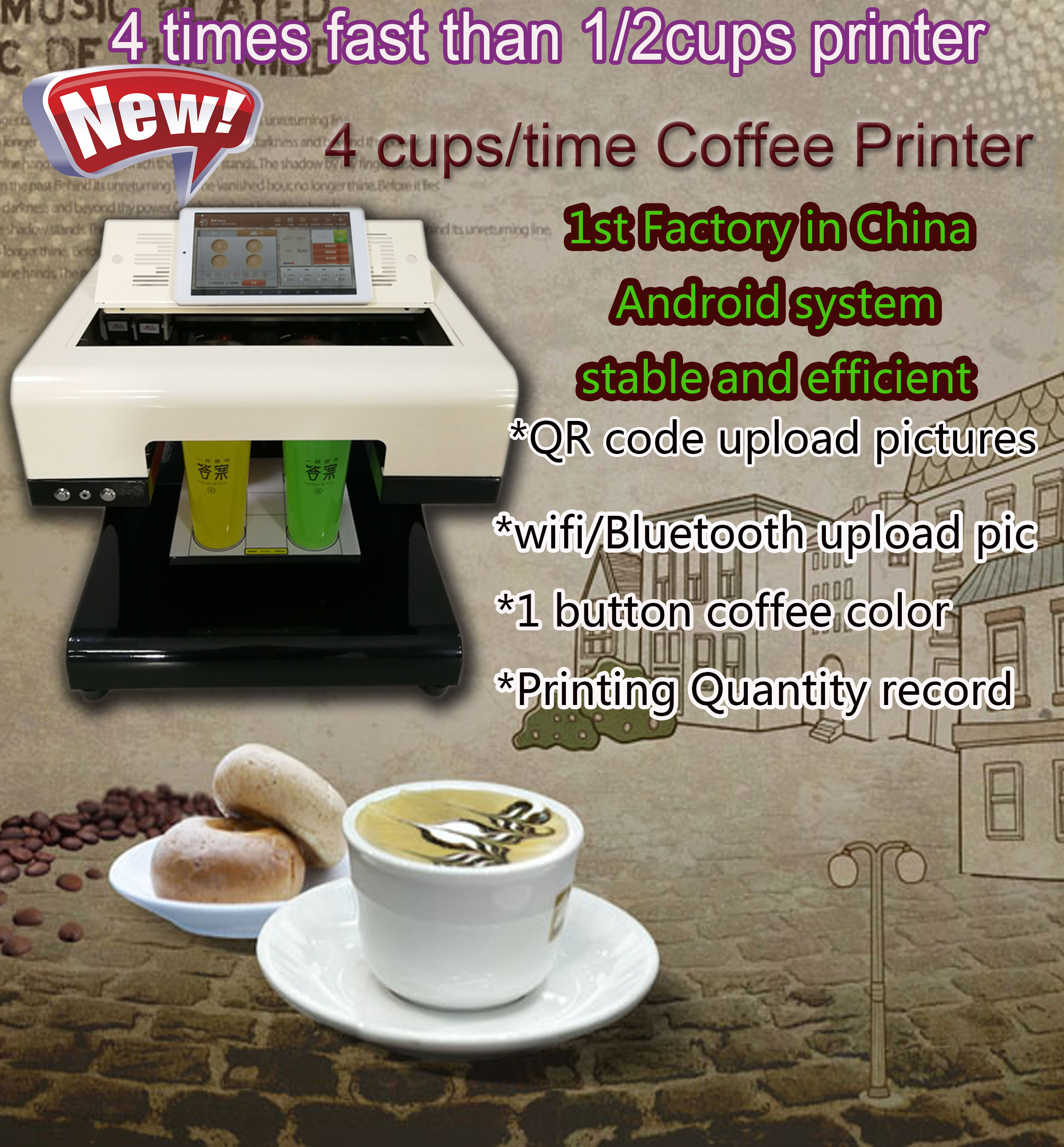 2018 Hot Sale Cappuccino 3d Let's Edible Cake Selfie Latte Art Printing Machine Coffee Printer Face Machine Price