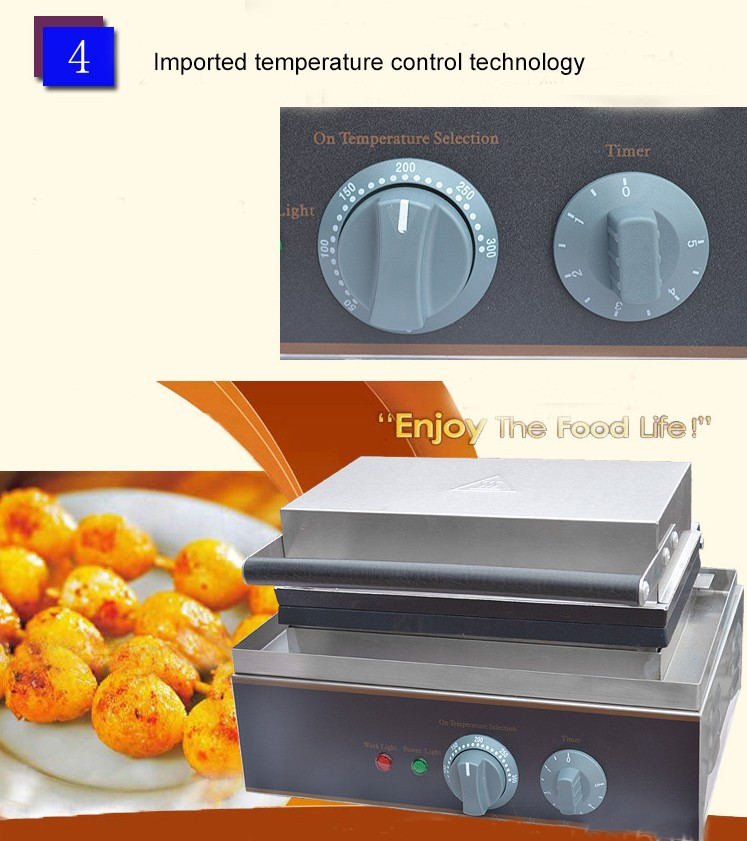 IS-FY-14 Stainless Steel Electric Nonstick QQ Egg Waffle Machine Baker 14 Pcs No-Stick Pan With Timer 0-5 Minutes 50-300 Degree