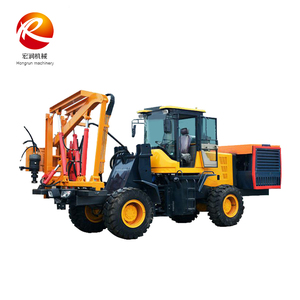 Highway safety barrier road fence installation piling driver machine