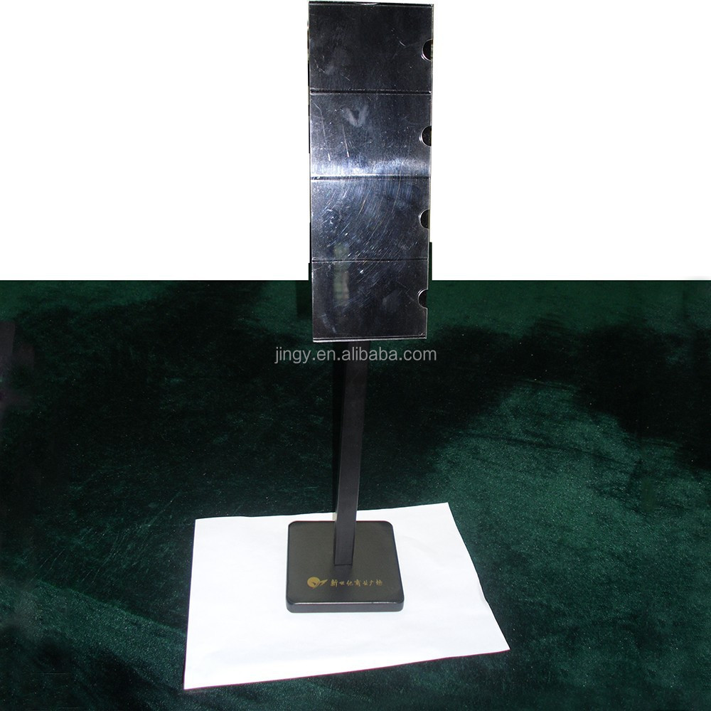 black metal brochure holder floor stand with acrylic base