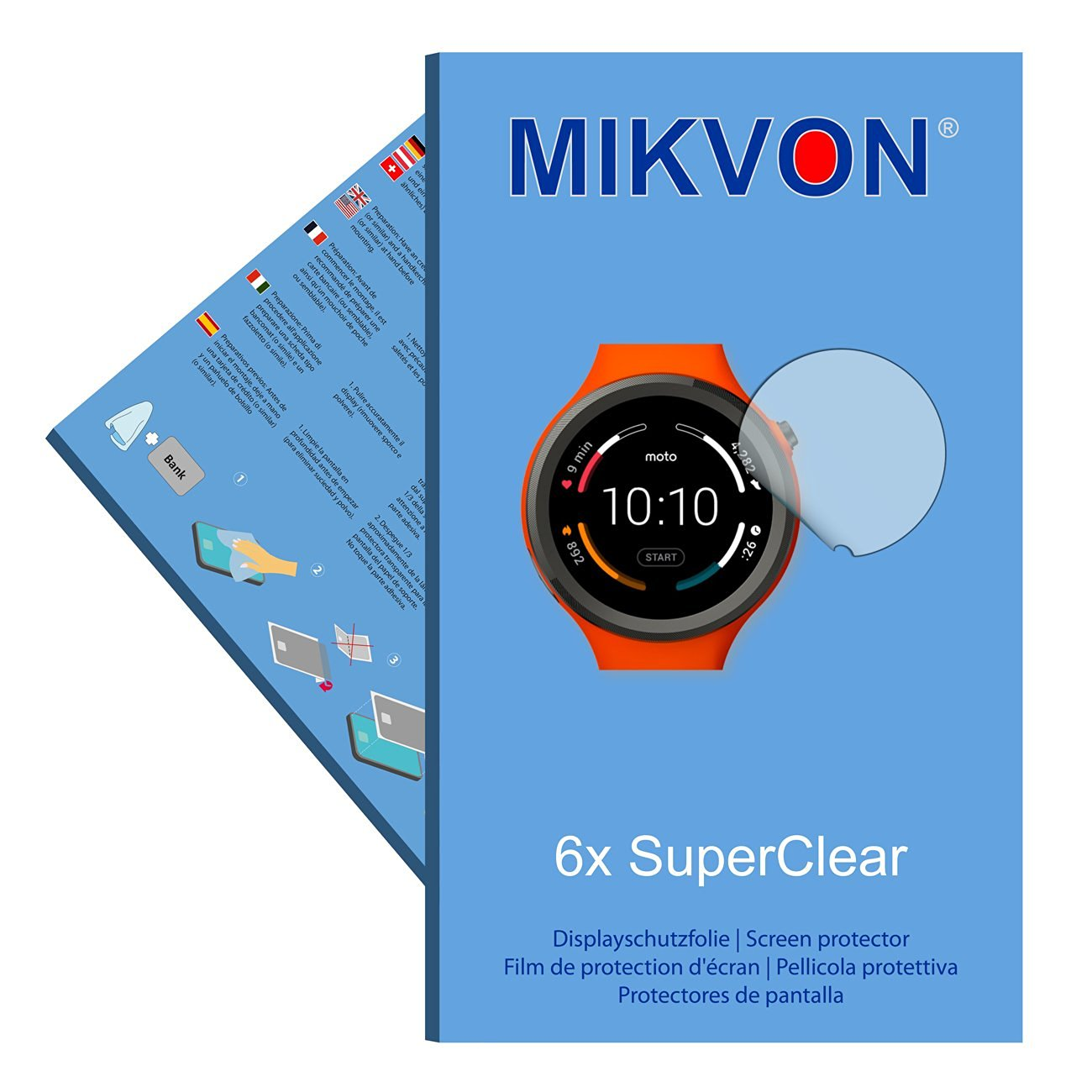 6x Mikvon films screen protector SuperClear for Motorola Moto 360 Sport Smartwatch - transparent - Made in Germany (intentionally smaller than the display due to its curved surface)