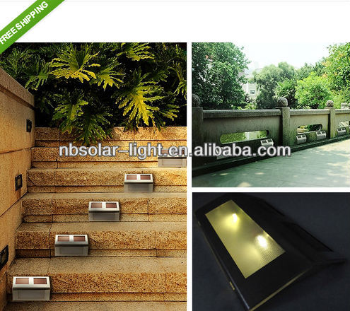 Solar Powered 2 LED Light Pathway Deck Path Step Stairway Wall Garden Yard Lamps