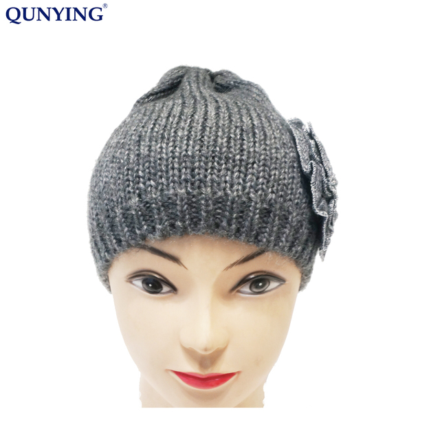 3a03aef44e7 women knitted hot selling winter beanie hats with flower