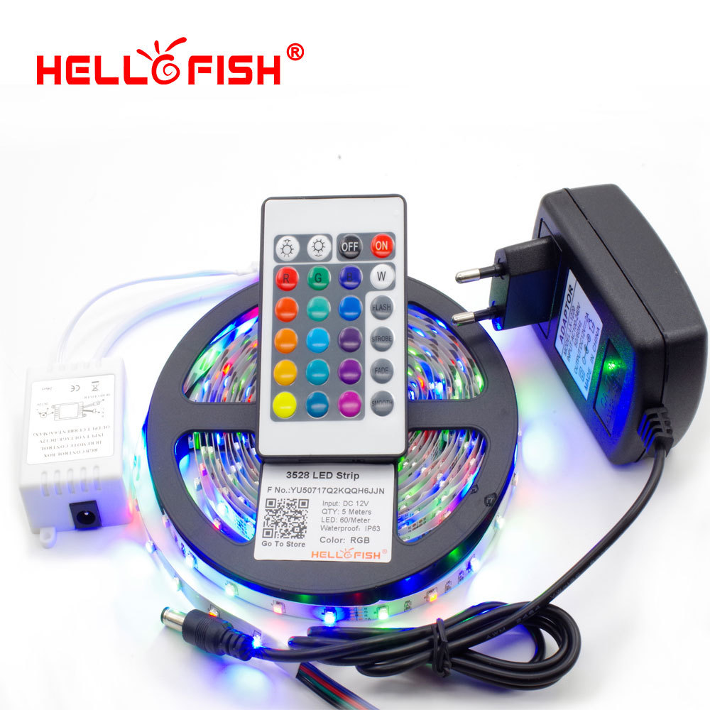 3528 LED Strip Flexible Light 5M 300 Led SMD IR Remote Controller 12V 2A Power Adapter Free Shipping
