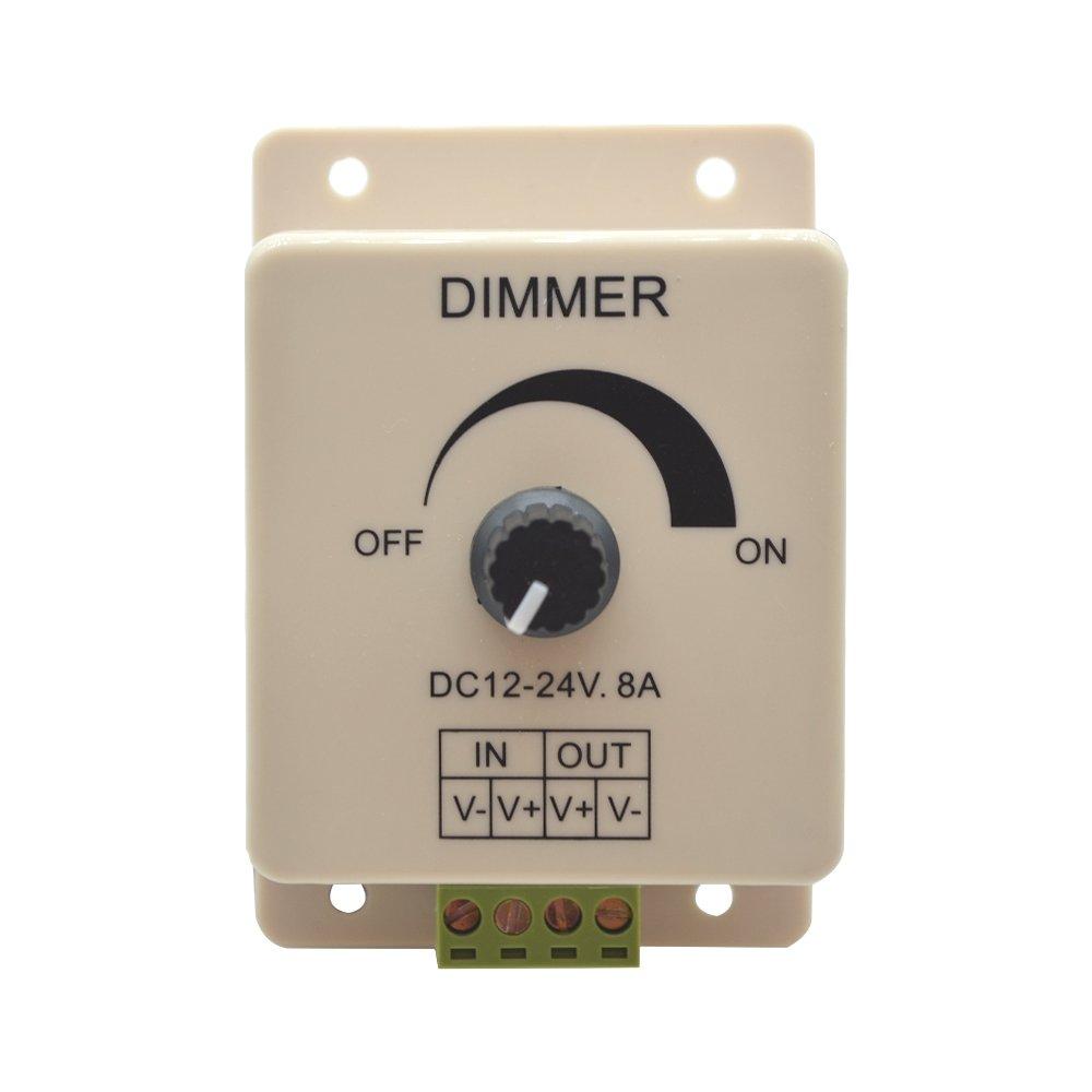 PWM Dimming Controller for LED Lights, Ribbon, Strip, 12 - 24 Volt (12V - 24V) 8 Amp, Adjustable Brightness Light Switch Dimmer Controller DC12V 8A 96W for Led Strip Light, Electrical Dimmer Switches