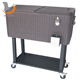 80Qt Rattan Patio Party Drink Metal Rooling Cooler Cart