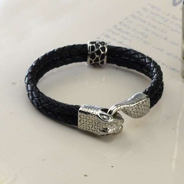 Cool Snake Shape Clasp Black Double Braid Leather Rope Bracelets Stainless Steel Bracelets