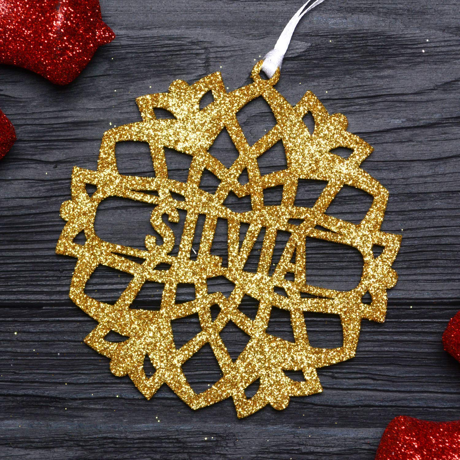 Personalized Christmas Snowflake Ornament/Custom Gold Glitter Snowflake, Laser Cut Wooden Ornaments, Christmas Tree Decor, Xmas Gifts