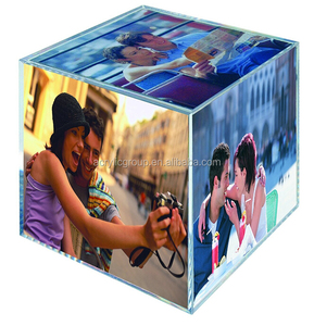 China Wholesale Customize Clear Acrylic 6 Sided Photo Photo Frame Cube