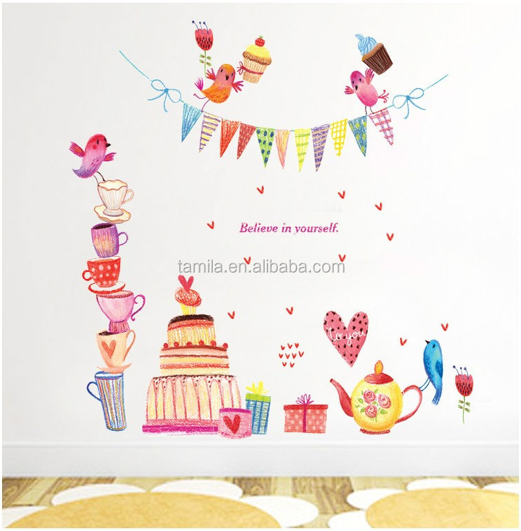 High Quality Cartoon Cake Happy Birthday Wall Decals DIY Removable Art Vinyl Stickers Valentines Day Decor Mural