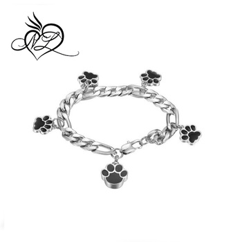 Stainless Steel Pet Dog Paw Charm Bracelets Print Bracelet Elastic Programmable Product On Alibaba