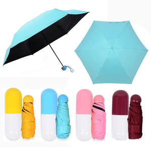5 Folding Compact Pocket 4 Color Capsule Ultra Lights Small Mini Umbrella With Cute Capsule Case