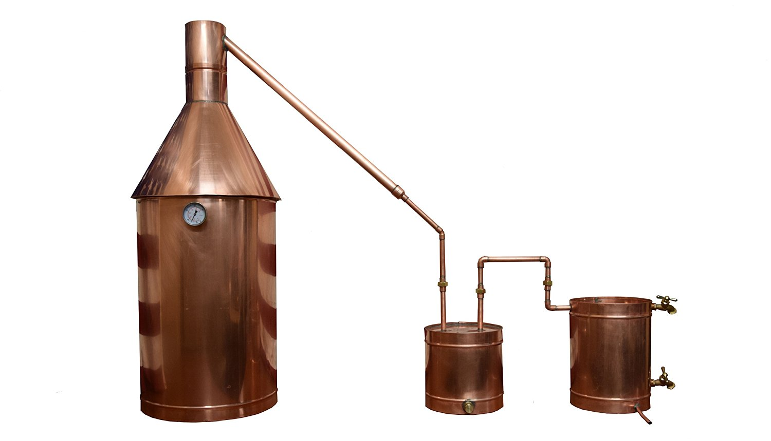 The Distillery Network® 20 Gallons Custom Engraved Professional Grade Moonshine Water Alcohol Spirits Complete Still Assembled Copper Still With Thumper Worm Cap Temperature Gauge