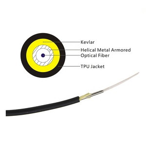 Armored tactical optic fiber cable with 4 FO connectors SC/APC and SC/UPC