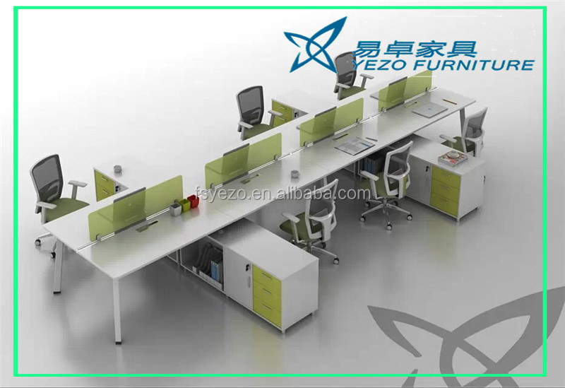 Big office long shape table 8 seater working station with screen
