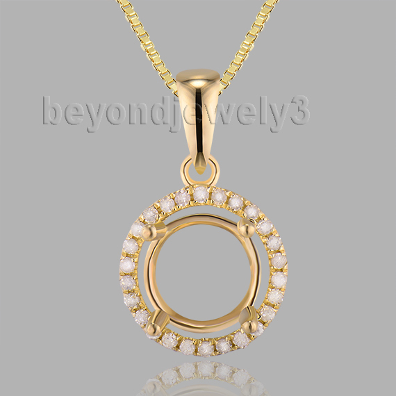 China semi mount pendant nature wholesale alibaba diamond semi mount round 7mm solid 14kt yellow gold natural diamond pendant for women e0053 mozeypictures Image collections