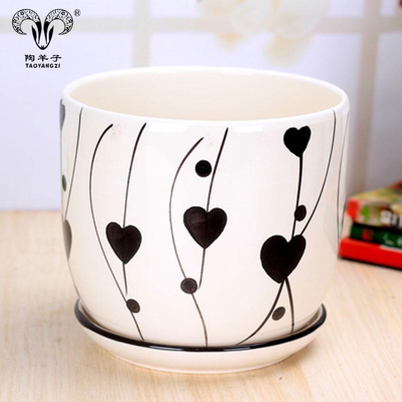 Лидер продаж, круглый керамический горшок для растений/горшок/цветочные горшки с индивидуальным принтом