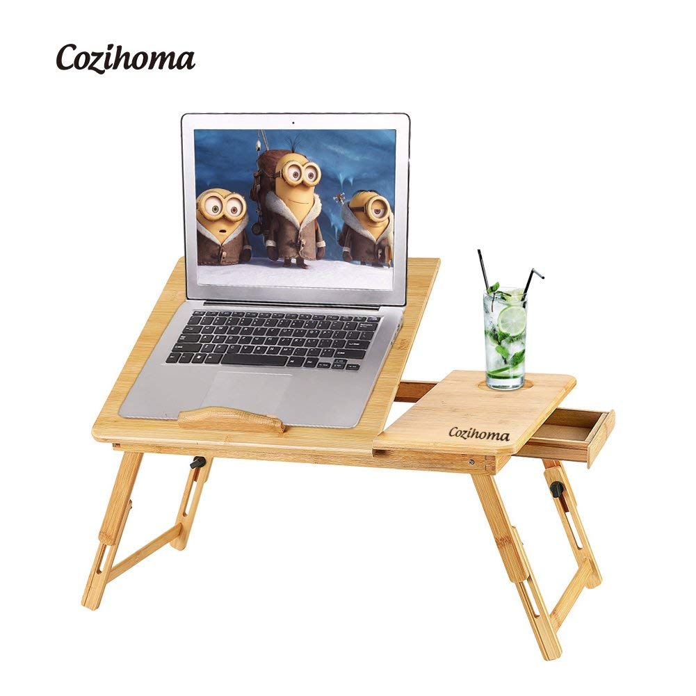 Laptop Desk Bamboo for Bed and Sofa, Portable Adjustable Laptop Desk Table Stand up/Siting Foldable Breakfast Serving Bed Tray with Drawer, Ergonomics Design
