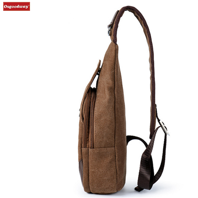 Osgoodway Hot Sale Casual Fashion Custom Logo Men Canvas Chest Bag Crossbody Shoulder Sling Bag