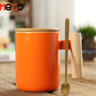 Hot sale gift packing ceramic coffee mugs with bamboo lid and spoon 301-400ml