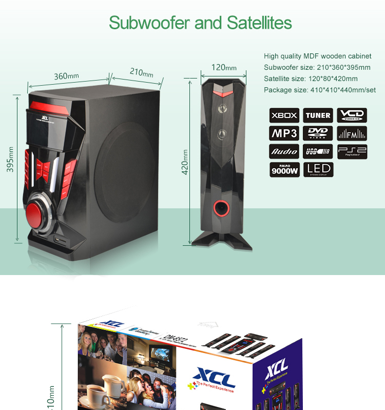 hot selling private mold 5.1 bluetooth speaker with sd fm usb remote